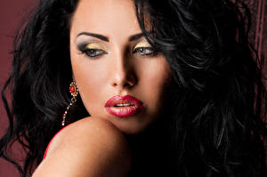 Pictures Brunette girl Face Red lips Makeup young woman