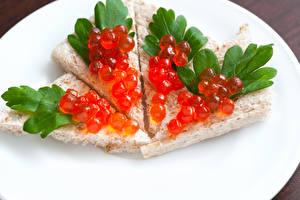Fotos Butterbrot Backware Meeresfrüchte Kaviar Lebensmittel