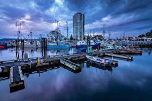 Desktop hintergrundbilder Kanada Haus Abend Schiffsanleger Binnenschiff Vancouver Bucht Nanaimo Städte