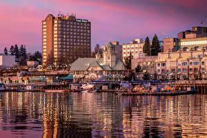 Fotos Kanada Gebäude Flusse Bootssteg Vancouver Nanaimo Städte