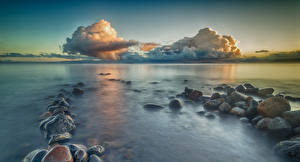 Photo Chile Landscape photography Sea Stone Sky Clouds Puerto Rettig Provincia del Ranco Nature