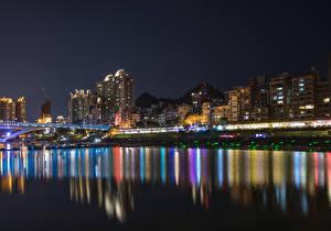 Fotos China Haus Brücken Küste Nacht New Taipei City Städte