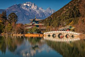 壁纸、、中華人民共和国、山、川、パゴダ、橋、Yunnan Province、自然