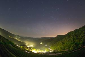 Fotos China Taiwan Berg Wald Acker Straße Nacht Natur