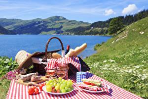 Wallpaper Coast Grapes Wine Sandwich Sausage Picnic Wicker basket Hat Stemware Food