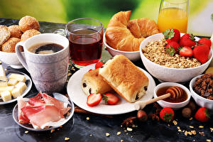 Picture Coffee Ham Buns Muesli Strawberry Croissant Juice Breakfast Cup Sliced food Highball glass