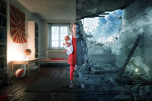 Desktop wallpapers Creative Ruins War Little girls Doll Children