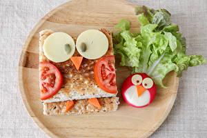 Fotos Kreativ Sandwich Backware Gemüse Käse Schneidebrett Lebensmittel