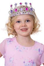 Photo Crown White background Little girls Modelling Smile Children