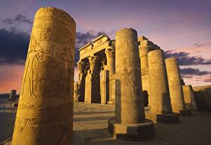 Hintergrundbilder Ägypten Ruinen Tempel Abend Säulen Temple of Kom Ombo Städte