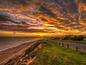 Hintergrundbilder England Landschaftsfotografie Sonnenaufgänge und Sonnenuntergänge Küste Straße Himmel Wolke Rother District Natur