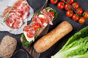 Fotos Fast food Sandwich Tomate Schinken Brot