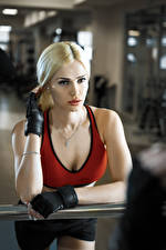 Wallpapers Fitness Blonde girl Staring Glove young woman Sport