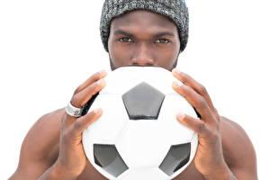 Fotos Fußball Mann Finger Weißer hintergrund Ball Neger Sport