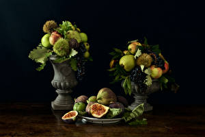 Photo Fruit Common fig Pears Apples Grapes Vase