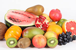 Wallpapers Fruit Watermelons Chinese gooseberry Pomegranate Grapes White background