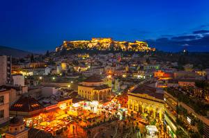 Hintergrundbilder Griechenland Gebäude Abend Platz Athens Attica Städte