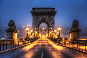 Pictures Hungary Budapest Bridge Lions Sculptures Fence Night Street lights HDRI