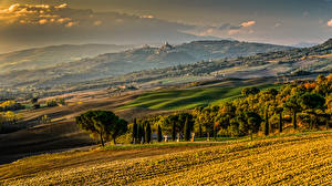 Hintergrundbilder Italien Toskana Landschaftsfotografie Acker Hügel Bäume
