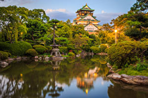壁纸、、日本、公園、池、京都市、城、低木、街灯、デザイン、Osaka Castle park、自然
