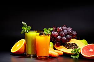 Wallpapers Juice Fruit Grapes Orange fruit Highball glass