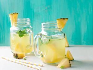Bilder Saft Ananas Weckglas Becher 2 Lebensmittel