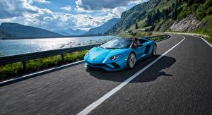 Wallpaper Lamborghini Light Blue Motion Roadster 2017-18 Aventador S Roadster Cars