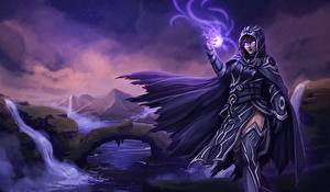 Images Magician Magic Magic: The Gathering Cape Hooded Fanart vdeo game Fantasy Girls