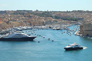 Bilder Malta Haus Schiffsanleger Yacht Bucht Valetta Städte