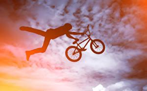 Hintergrundbilder Mann Fahrrad Sprung Silhouette