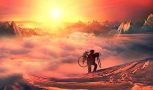 Bilder Mann Fahrrad Sonne Wolke