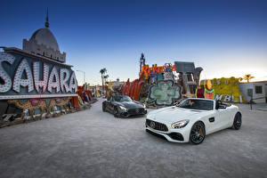 Hintergrundbilder Mercedes-Benz Zwei Metallisch Cabriolet 2016 AMG GT Roadster Autos