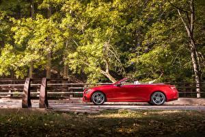 Bilder Mercedes-Benz Rot Seitlich Metallisch Cabrio 2018 E 400 4MATIC AMG Line Cabrio Autos