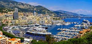 Bilder Monaco Haus Seebrücke Schiffe Gebirge Yacht Bucht Städte