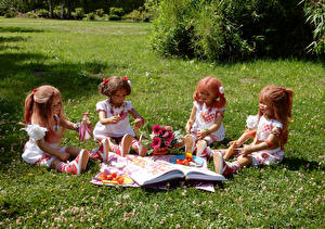 Wallpaper Parks Vegetables Bouquets Doll Little girls Sitting Grass Grugapark Essen Nature