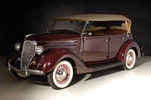 Hintergrundbilder Antik Ford Bordeauxrot Metallisch 1936 V8 Deluxe Phaeton Autos