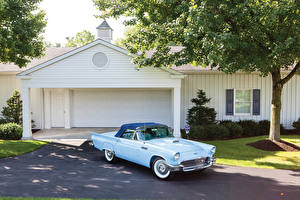 Image Vintage Ford Light Blue Metallic 1957 Thunderbird F-Code Special Supercharged automobile