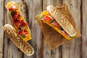 Fotos Sandwich Brot Schinken Bretter 2