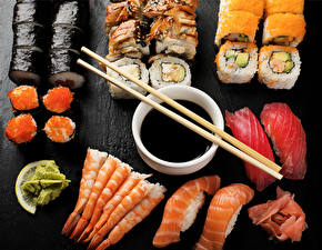 Pictures Seafoods Sushi Chopsticks Food