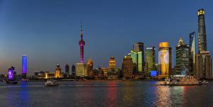 Bakgrundsbilder på skrivbordet Shanghai Kina Byggnad Kväll Kusten Städer