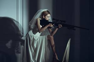 Images Sniper rifle Asiatic Snipers young woman