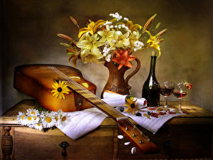 Pictures Still-life Bouquets Camomiles Lilies Wine Currant Guitar Bottle Stemware Flowers Food