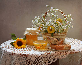 Picture Still-life Camomiles Honey Sunflowers Baking Table Wicker basket Jar Food