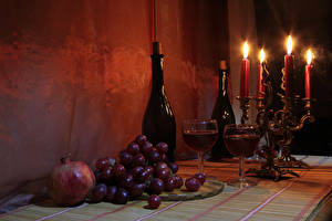 Images Still-life Candles Wine Grapes Pomegranate Bottle Stemware
