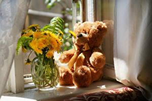 Hintergrundbilder Stillleben Taraxacum Teddybär Vase Blumen
