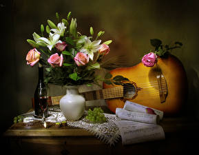 Picture Still-life Roses Tulips Wine Grapes Notes Vase Guitar Bottle Stemware Flowers