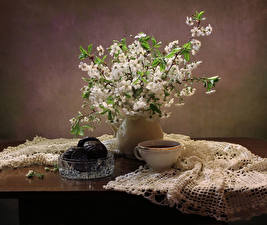 Hintergrundbilder Stillleben Zefir Schokolade Blühende Bäume Tee Tasse Ast Tisch Lebensmittel