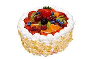 Hintergrundbilder Süßware Torte Beere Erdbeeren Heidelbeeren Himbeeren Weißer hintergrund Design Lebensmittel