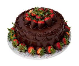 Bilder Süßware Torte Schokolade Erdbeeren Weißer hintergrund Design Lebensmittel
