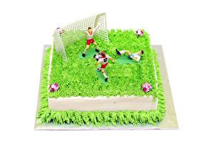 Hintergrundbilder Süßware Torte Fußball Weißer hintergrund Design